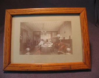 1900s Baltimore Maryland Office Photo Interior Telephone Chair Wood Frame Glass