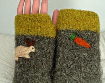 Fingerless gloves, felted gloves,arm warmers, wool gloves, felted mittens,bunnies,sheep