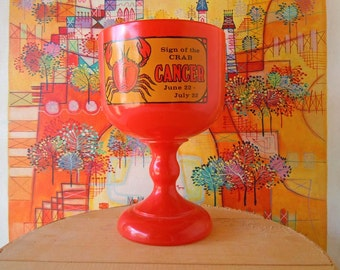 Large Schooner Vintage Cancer Sign Goblet Drinking Glass Astronomy Horoscope Margarita Glass Orange Footed Beer Glass