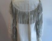 Vintage White Leather Fringed Jacket