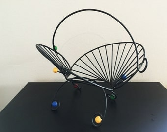 SALE Mid Century Atomic Kitsch Wire Basket Fruit Bowl Eames