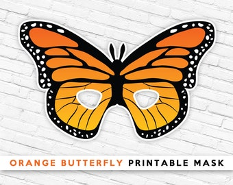 Orange Butterfly Printable Mask | Butterfly Mask | Kids Bug Mask | Summer Pretend Play