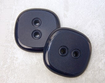 Large Blue Buttons, 35mm 1-3/8 inch - Retro Mod Navy Blue Sew Through Buttons - 2 NOS Rounded Square Dark Blue Plastic Sewing Buttons PL178