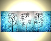 Light Blue Trees, Original Modern Large Abstract Fine Art Acrylic Blue Tree Landscape Painting By Dan Lafferty - 20x48