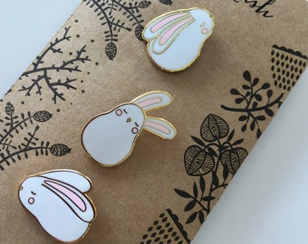 Mini bunny collar pin set