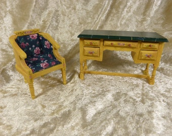 dollhouse miniature hand-painted  set of lady desk and matching arm chair