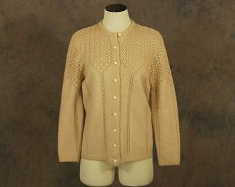 Clearance Sale vintage 60s Cardigan - Beige Pointelle Sweater - 1960s Sheer Open Knit  Cardigan SZ M