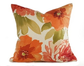 Orange Designer Pillow,  Watercolor Floral Pillows, Cream Orange Green Pillow Covers, Large Flowers, Spring Cushions, 18x18