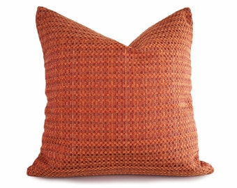 Textured Orange  Pillow Cover, Brick Red Throw Pillow, Rust Basketweave Texture Cushion Cover, Contemporary Home Decor 18x18