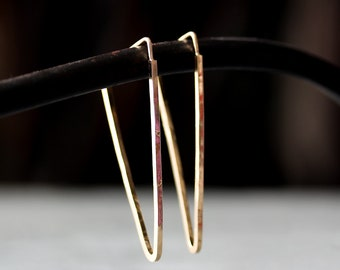Triangle Spike Hoop Earrings / Geometric Earrings, Sterling Silver 14K Gold, Handmade Earrings, Geometric Jewelry, Comfortable, Gold Filled