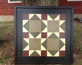PRiMiTiVe Hand-Painted Barn Quilt - 3' x 3' Road to California Pattern