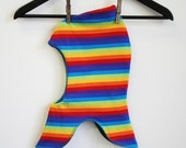 SMALL Kids balaclava pixie hat - fleece and rainbow stripes - hat for under helmets - warm and breathable