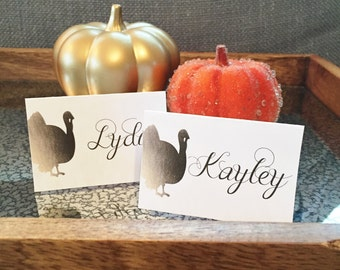 Instant Download - Editable Personalized Thanksgiving Turkey Gold Foil Place Cards