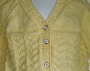 Handknit Wavy Baby Cardigan size 24 month to 2T, Yellow with 5 white and gold buttons