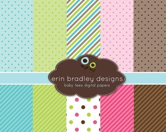 60% OFF SALE Digital Scrapbook Papers Personal and Commercial Use Pink Green Blue Brown Stripes and Polka Dots