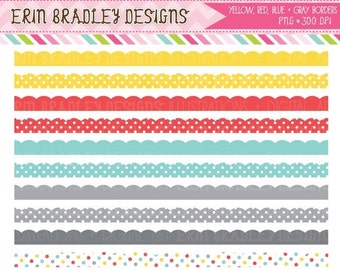 60% OFF SALE Colorful Scalloped Borders Clipart Commercial Use Clip Art INSTANT Download