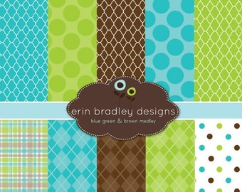 60% OFF SALE Digital Scrapbook Papers Personal and Commercial Use Blue Green and Brown Printable Digital Papers INSTANT Download