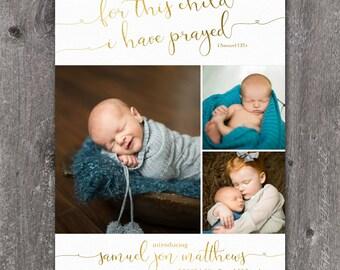For This Child - Custom Digital Photo Baby Birth Adoption Announcement BOY or GIRL