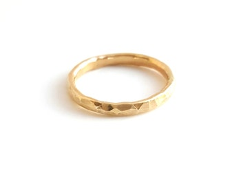 14k gold filled stacking ring - textured - dainty - hammered