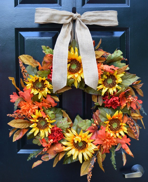 Sunflower Fall Wreath- Limited Edition Fall Sunflower Wreath- 24 inch- Yellow Artificial Wreaths- Year Round Decor- Door Wreath- Fall Decor