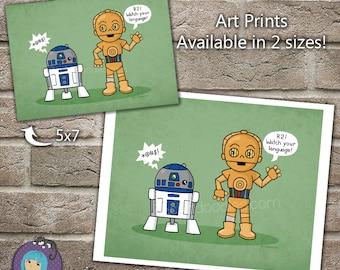 R2D2 and C3PO Star Wars Best Friends cartoon art