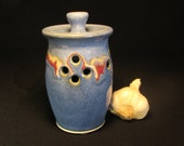 Garlic Keeper- Blue Garlic Storage- Garlic Pot- Storage Garlic- Blue Garlic Jar- Garlic Holder- Storing Garlic- Garlic Saver- InStock