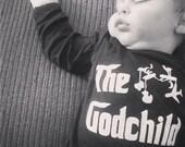 The Godchild original parody baby bodysuit baptism gift for a boy or girl
