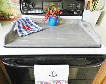 Stove Board, Beach Kitchen Cottage Stove Board, Weathered Gray Wooden Stove Board, Noodle Board, Beach  Kitchen,  Farmhouse Kitchen,