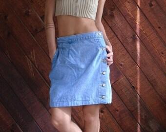 extra 25% off SALE ... Denim High Waist Side Button Mini Tulip Skirt - Vintage 90s - MEDIUM M