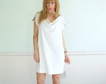 30% off ... Vintage 90s Designer Short Sleeve Cream A Line Mini Dress - Small S Medium M