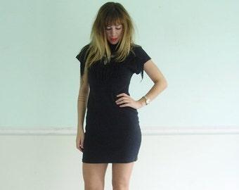 30% off ... Black Fringe Embellished Faded Mini Bodycon Dress - Vintage 80s - XS S
