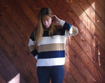 30% off ... Chunky Brown Striped Pullover Sweater- Navy Oatmeal - Vintage 90s - XS S