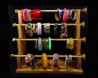 Mission Style 4 Wand Standing Bracelet Holder Organizer Storage Display Oak Bangle Holder Organizer Display Storage
