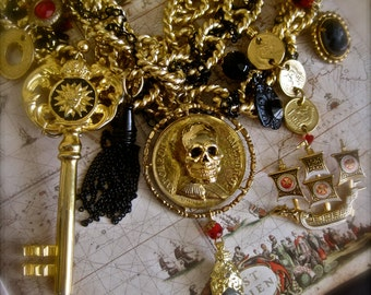 Bound for Spain: Pirate Statement Necklace Choker SKULL Vintage Assemblage Multi Strand Huge Links Gold Pirate Ship Huge Key Coins Cameo
