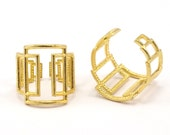 Brass Rectangle Ring - 4 Raw Brass Adjustable Rectangle Modern Rings N002