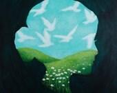 Bird Cloud Watcher - Fine Art Print of Original Painting