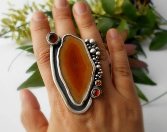 agate slice ring, sterling silver, cocktail ring, huge ring, gypsy ring, orange geode, fire citrine, garnet, size8.5, ready to ship