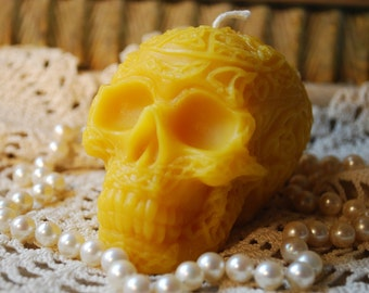 Beeswax Candle Celtic Embossed Decorated Skull Candle
