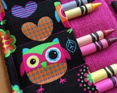 Coloring Wallet - Silly Owls, Crayons and Paper Included