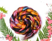 FIESTA - Custom Blend Merino Mulberry Silk Bamboo Combed Top Wool Roving for Spinning or Felting -4 oz