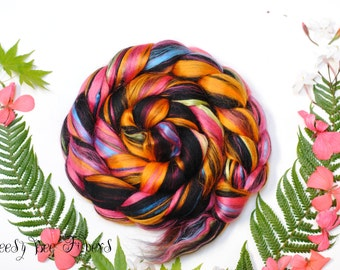 FIESTA - Custom Blend Merino Mulberry Silk Bamboo Combed Top Wool Roving for Spinning or Felting - 4 oz