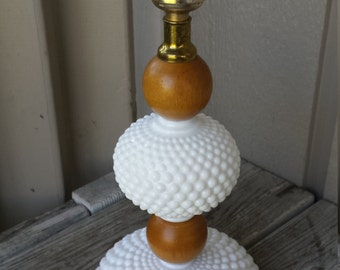 Hobnail Milk Glass and Wood Lamp