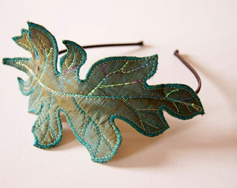 Fiber Art Acanthus Leaf Headband Hairband Teal Silk Botanical Hair Accessory Natural History Woodland Nature Lover Gift for Her