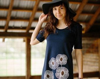 SUMMER SALE tshirt dress, navy blue dress, cotton dress, summer dress