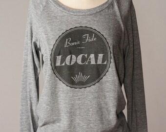 women's pullover sweatshirt, local sweatshirt, gray sweatshirt, slouchy pullover, hometown pride