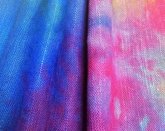 Hand dyed hand loomed Linen piece for Quilting, Needlecraft, Embroidery and Stitching