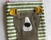 Bear on stripy green POUCH
