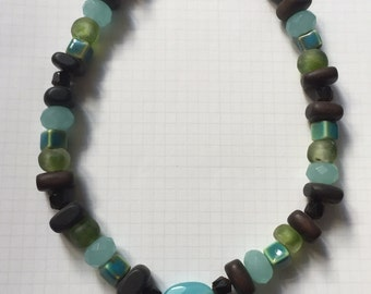 "Sea Glass and Chalcedony 18"" Necklace"