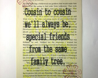 Cousins print on a book page, cousin to cousin we'll always be, special friends from the same family tree