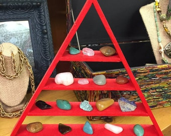 Beautiful Large Red Triangle Shelf with Crystals Included Pyramid Shelf